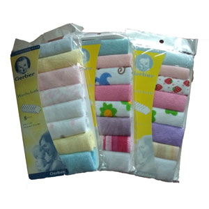 GERBER 8pc Wash Cloths (Assorted)