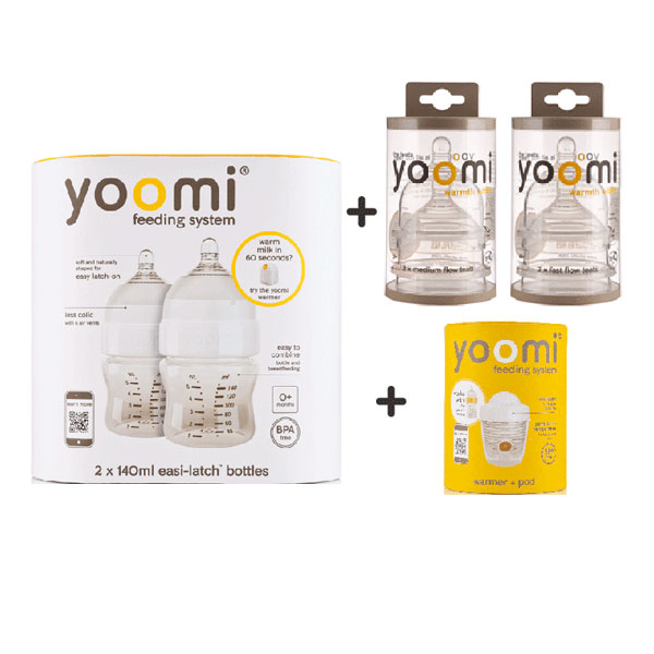 YOOMI Twin-Pack 140ml Easi-Latch Bottles Complete Combo Set